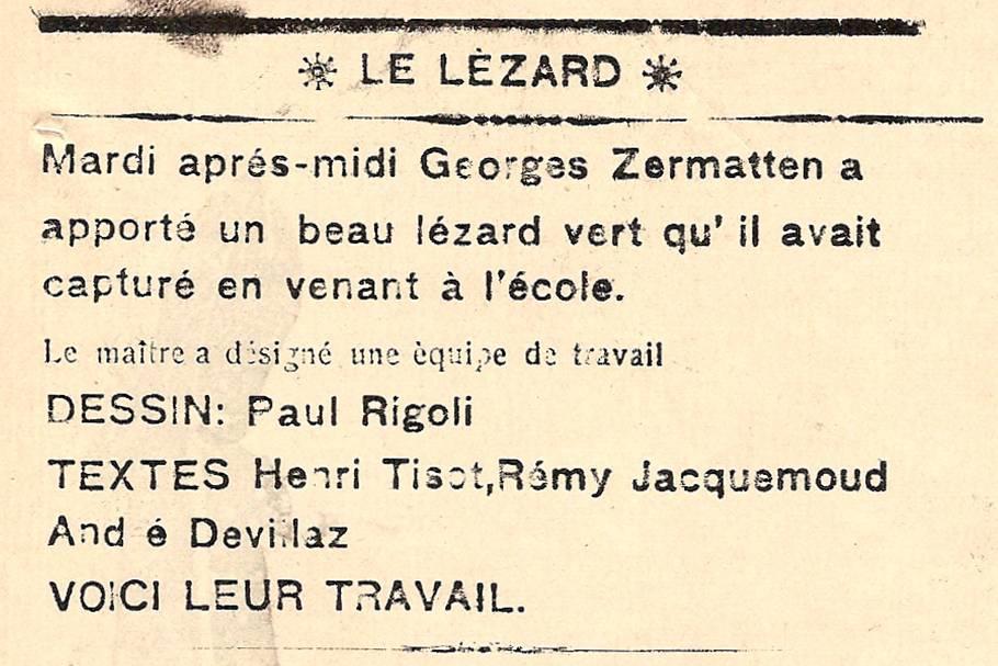 Journal scolaire de Passy, « Face au Mont-Blanc », avril-mai 1938 p. 5, Le lézard vert