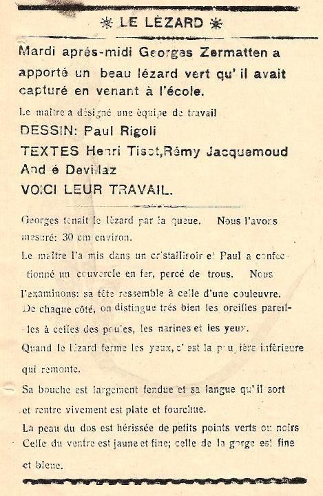 Journal scolaire de Passy, « Face au Mont-Blanc », avril-mai 1938 p. 5, Le lézard vert, par Henri Tissot, Rémy Jacquemoud, André Devillaz, dessin Paul Rigoli