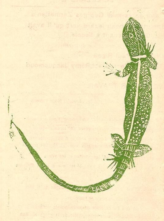 Linogravure du journal scolaire de Passy, « Face au Mont-Blanc », avril-mai 1938 p. 6, Le lézard vert, dessin Paul Rigoli