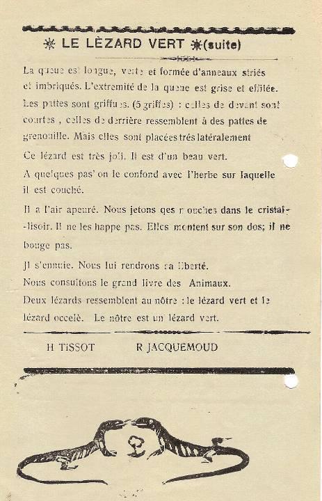 Journal scolaire de Passy, « Face au Mont-Blanc », avril-mai 1938 p. 7, Le lézard vert, par Henri Tissot, Rémy Jacquemoud, André Devillaz, dessin Paul Rigoli