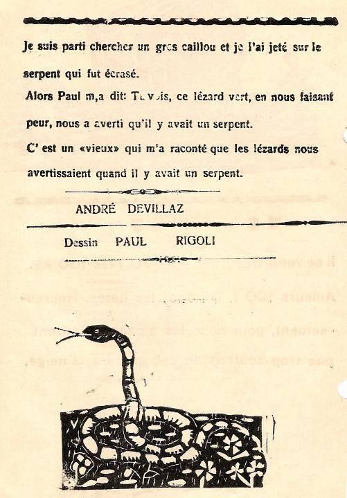 Journal scolaire de Passy, « Face au Mont-Blanc », avril-mai 1938 p. 9, Le lézard ocellé, par André Devillaz, dessin Paul Rigoli