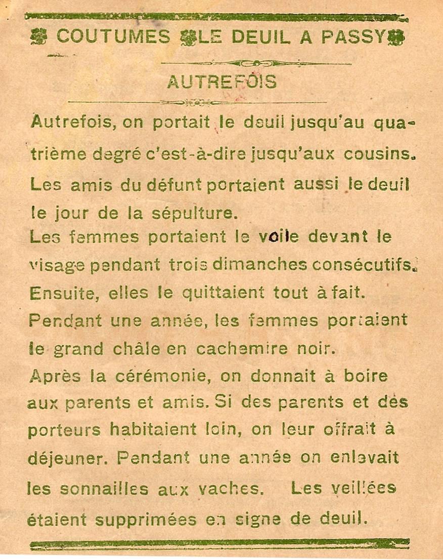 Journal scolaire de Passy « Face au Mont-Blanc », novembre 1938, p. 1 Coutumes : le deuil à Passy, autrefois », par Rachel Brillet