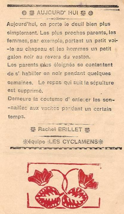 Journal scolaire de Passy « Face au Mont-Blanc », novembre 1938, p. 2 Coutumes : le deuil à Passy, aujourd'hui », par Rachel Brillet