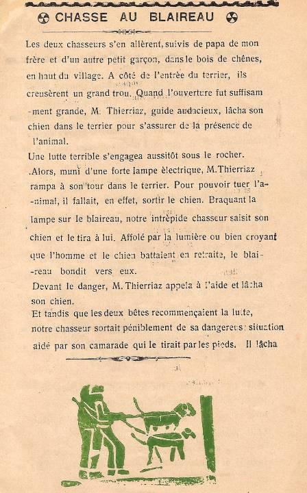 Journal scolaire de Passy « Face au Mont-Blanc », novembre-décembre 1938, p. 3, Chasse au blaireau, par Monique Rihouvy, 11 ans 6 mois