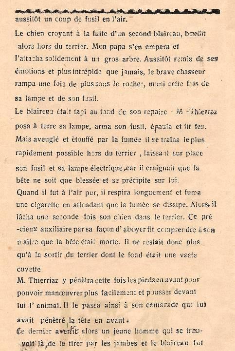 Journal scolaire de Passy « Face au Mont-Blanc », novembre-décembre 1938, p. 4, Chasse au blaireau, par Monique Rihouvy, 11 ans 6 mois