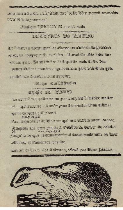 Journal scolaire de Passy « Face au Mont-Blanc », novembre-décembre 1938, p. 5, Chasse au blaireau, par Monique Rihouvy, 11 ans 6 mois ; description du blaireau, ruses de renard