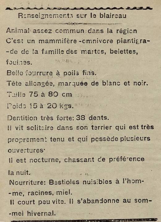 Journal scolaire de Passy « Face au Mont-Blanc », novembre-décembre 1938, p. 6, Chasse au blaireau, par Monique Rihouvy, 11 ans 6 mois ; renseignements sur le blaireau