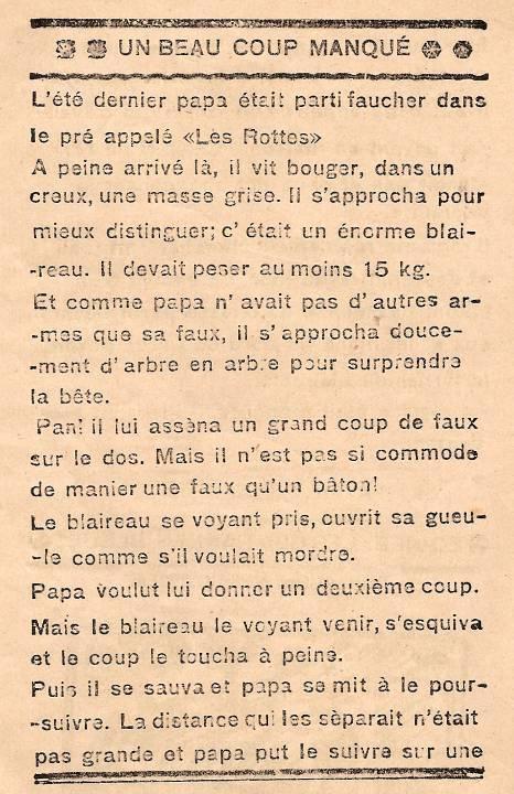 Journal scolaire de Passy « Face au Mont-Blanc », novembre-décembre 1938, p. 7 Un beau coup manqué (chasse au blaireau avec une faux), par André Fivel, 11 ans, dessin et lino Michel Guilbert