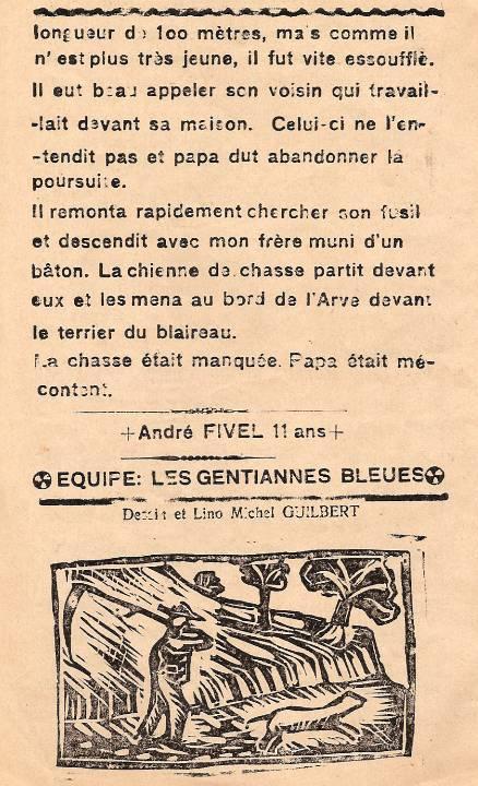 Journal scolaire de Passy « Face au Mont-Blanc », novembre-décembre 1938, p. 8 Un beau coup manqué (chasse au blaireau avec une faux), par André Fivel, 11 ans, dessin et lino Michel Guilbert