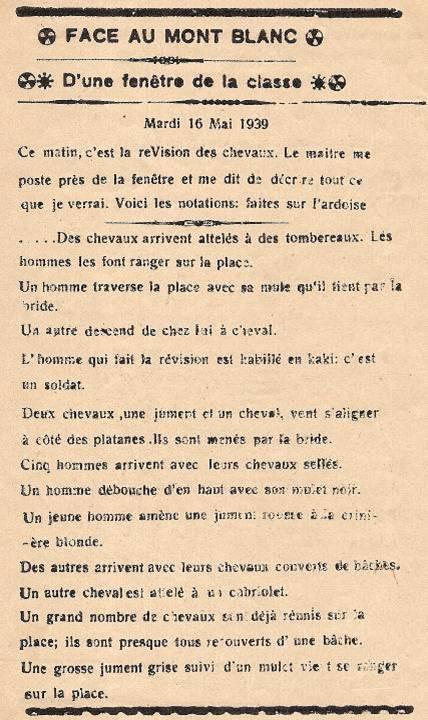 Journal scolaire de Passy, « Face au Mont-Blanc », avril-mai 1939, p. 6, « D'une fenêtre de la classe » (révision des chevaux, 16 mai 1939), par Jean Gavard, 12 ans 4 mois