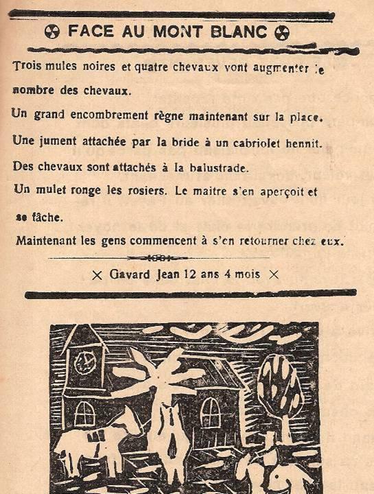 Journal scolaire de Passy, « Face au Mont-Blanc », avril-mai 1939, p. 7, « D'une fenêtre de la classe » (révision des chevaux, 16 mai 1939), par Jean Gavard, 12 ans 4 mois
