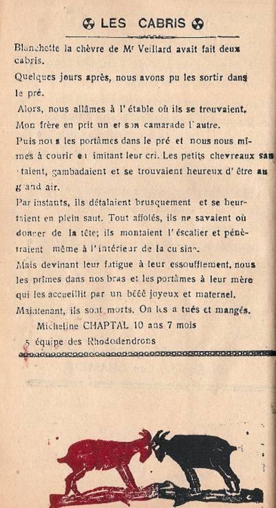 Journal scolaire de Passy « Face au Mont-Blanc », mai-juin-juillet 1946 p. 7 Les cabris, par Micheline Chaptal, 10 ans ½