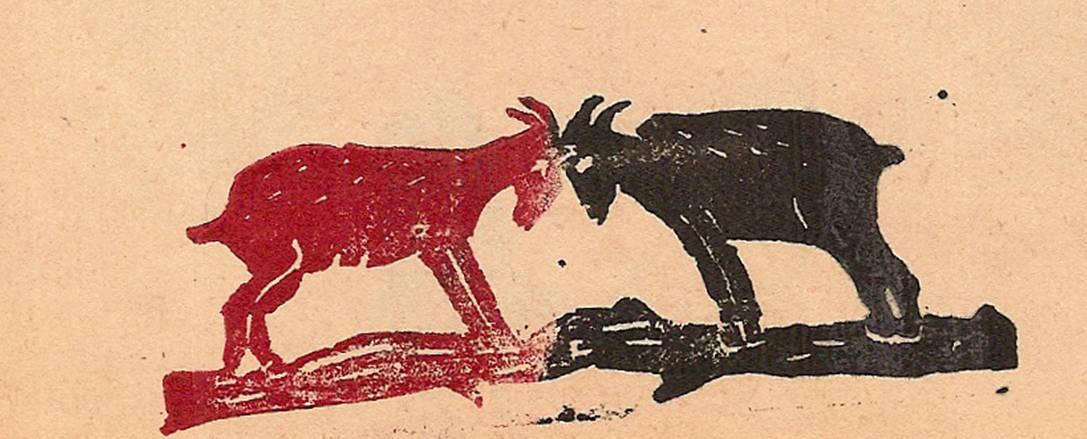Linogravure du journal scolaire de Passy « Face au Mont-Blanc », mai-juin-juillet 1946, p. 7 Les cabris, par Micheline Chaptal, 10 ans ½