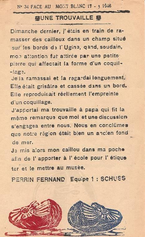 Journal scolaire de Passy, « Face au Mont-Blanc », mai-juin-juillet 1946,  p. 3 Une trouvaille, par Fernand Perrin