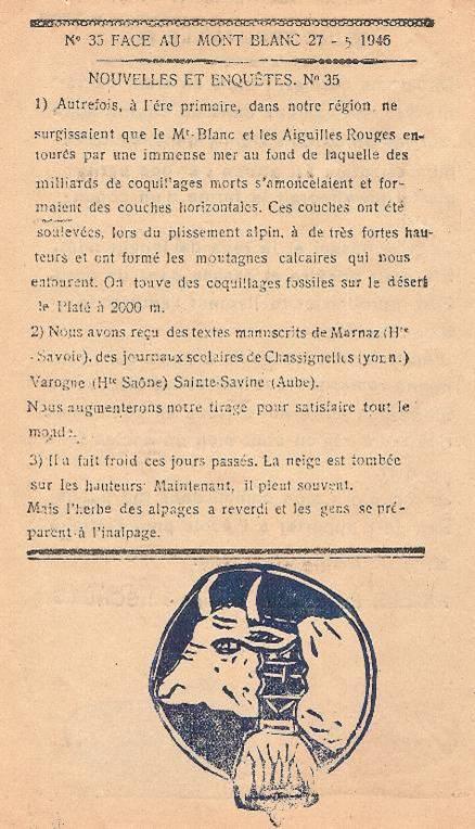 Journal scolaire de Passy, « Face au Mont-Blanc », mai-juin-juillet 1946,  p. 4 Nouvelles et enquêtes