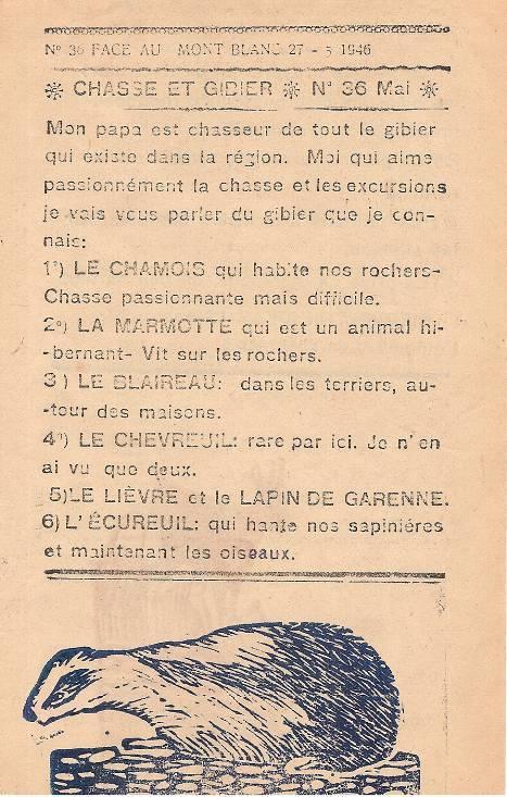 Journal scolaire de Passy « Face au Mont-Blanc », mai-juin-juillet 1946p. 5 Chasse et gibier, par Pierre Thierriaz, 12 ans