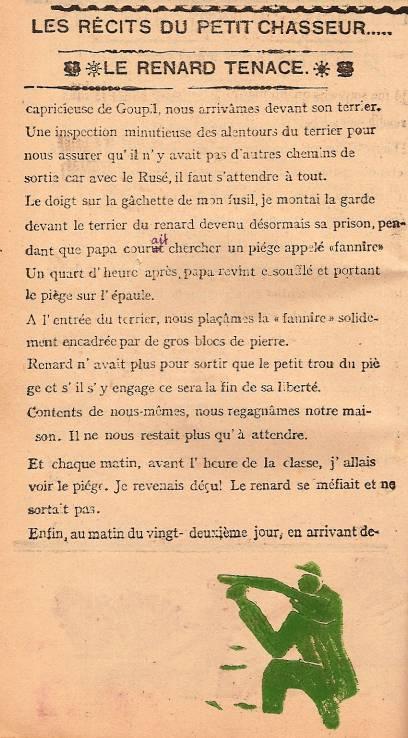 Journal scolaire de Passy « Face au Mont-Blanc », décembre 1946, p. 8 Le renard tenace, par Pierre Thierriaz, 12 ans 7 mois