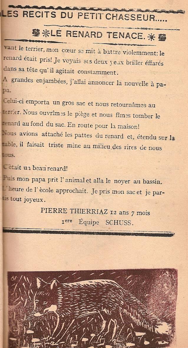 Journal scolaire de Passy « Face au Mont-Blanc », décembre 1946, p. 9 Le renard tenace, par Pierre Thierriaz, 12 ans 7 mois