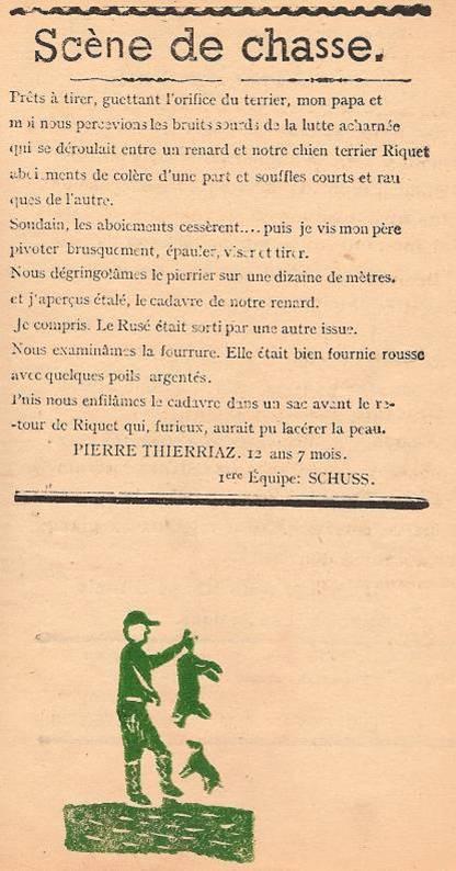 Journal scolaire de Passy « Face au Mont-Blanc », Janvier 1947, p. 7 Scène de chasse (au renard), par Pierre Thierriaz, 12 ans 7 mois