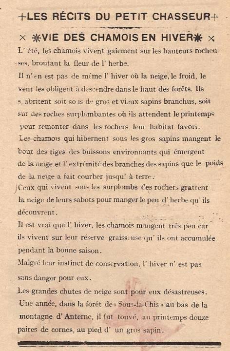 Journal scolaire de Passy « Face au Mont-Blanc », Février-mars 1947, p. 15, Les récits du petit chasseur : Vie des chamois en hiver, par Pierre Thierriaz, 13 ans