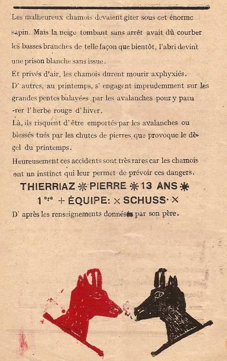 Journal scolaire de Passy « Face au Mont-Blanc », Février-mars 1947, p.16 Les récits du petit chasseur : Vie des chamois en hiver, par Pierre Thierriaz, 13 ans