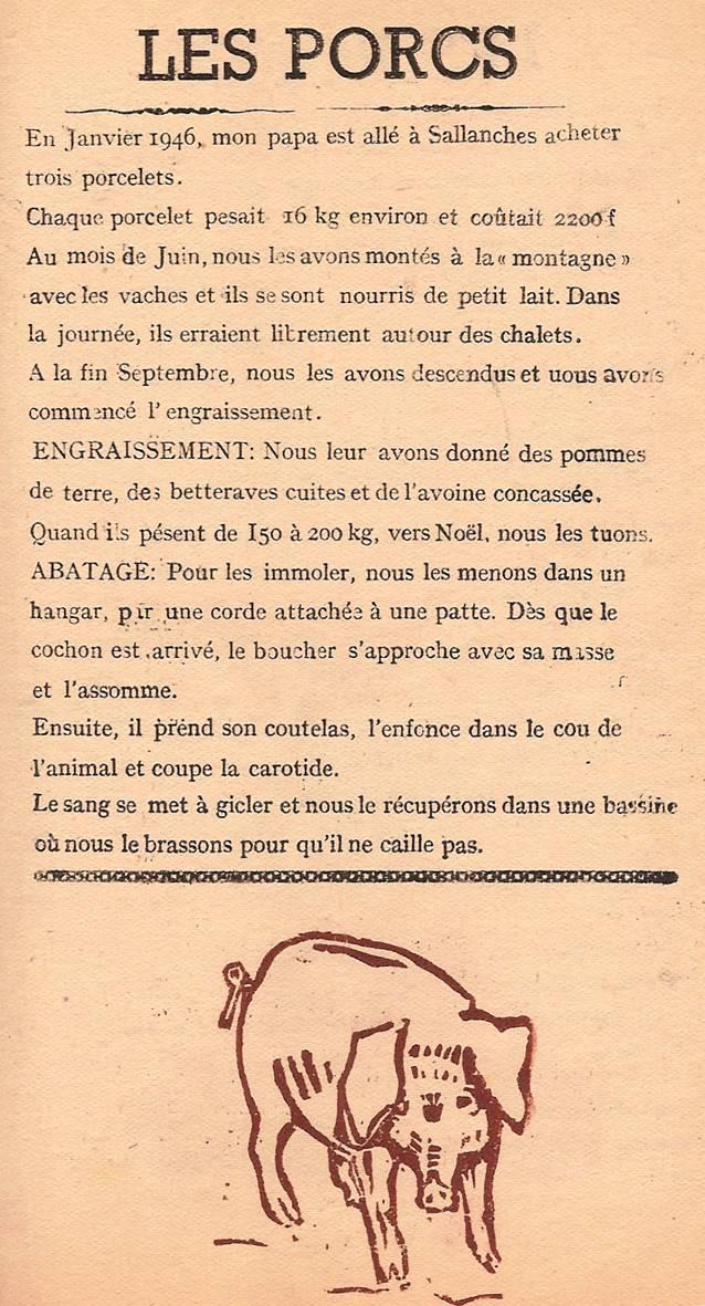 Journal scolaire de Passy « Face au Mont-Blanc », février-mars 1947, p. 7 Les porcs, par Pierre et Edouard Thierriaz, linos de Martial Devillaz