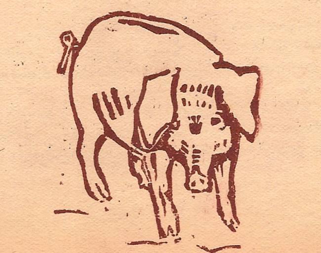 Linogravure de Martial Devillaz, journal scolaire de Passy « Face au Mont-Blanc », février-mars 1947, p. 7