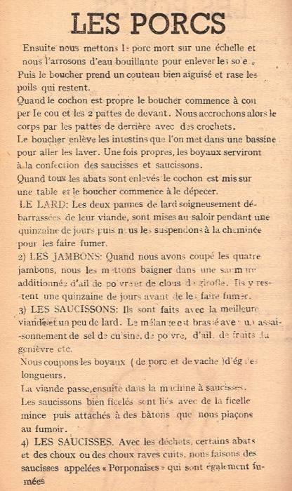 Journal scolaire de Passy « Face au Mont-Blanc », février-mars 1947, p. 8 Les porcs, par Pierre et Edouard Thierriaz, linos de Martial Devillaz