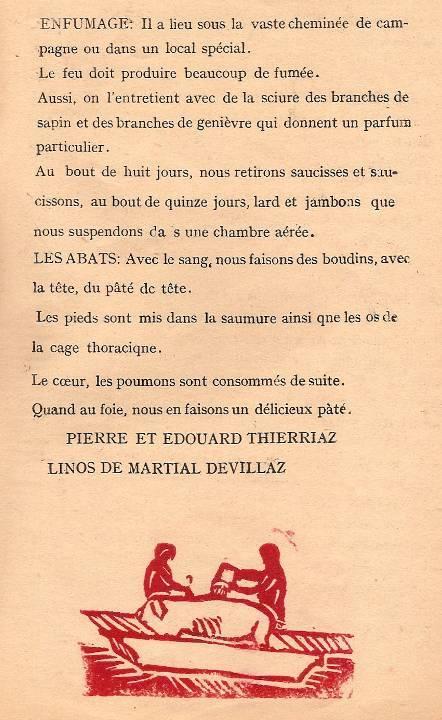 Journal scolaire de Passy « Face au Mont-Blanc », février-mars 1947, p. 9 Les porcs, par Pierre et Edouard Thierriaz, linos de Martial Devillaz