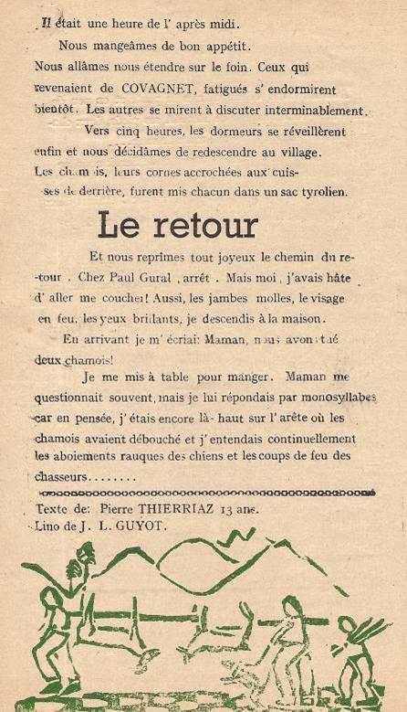 Journal scolaire de Passy « Face au Mont-Blanc », Avril-mai-juin-juillet 1947 p. 10 Les récits du petit chasseur : Chasse au chamois, par Pierre Thierriaz, 13 ans, lino de J.L. Guyot