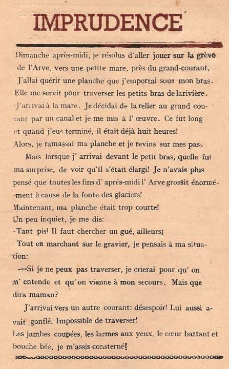 Journal scolaire de Passy « Face au Mont-Blanc », Avril-mai-juin-juillet 1947  p. 15 Imprudence, par Bernard Magnin, 11 ans, lino de J. L. Guyot
