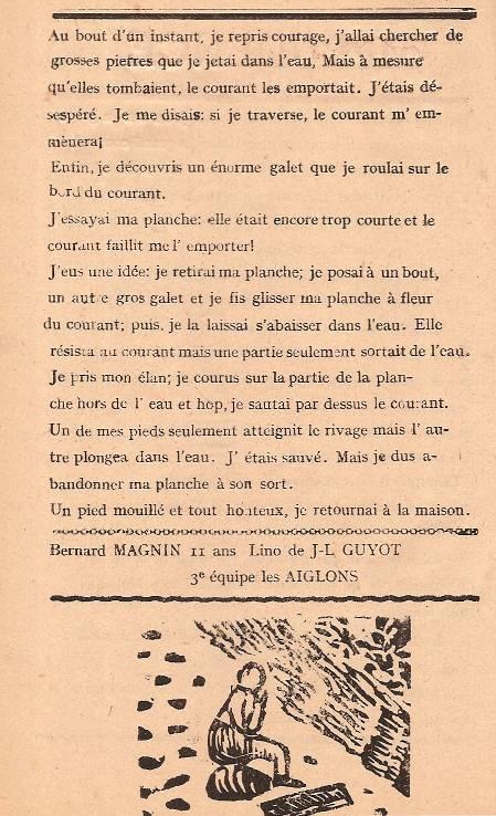 Journal scolaire de Passy « Face au Mont-Blanc », Avril-mai-juin-juillet 1947  p. 16 Imprudence, par Bernard Magnin, 11 ans, lino de J. L. Guyot