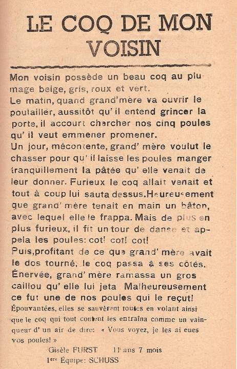 Journal scolaire de Passy « Face au Mont-Blanc », avril 1947, p. 17, Le coq de mon voisin, Gisèle Furst, 11 ans 7 mois