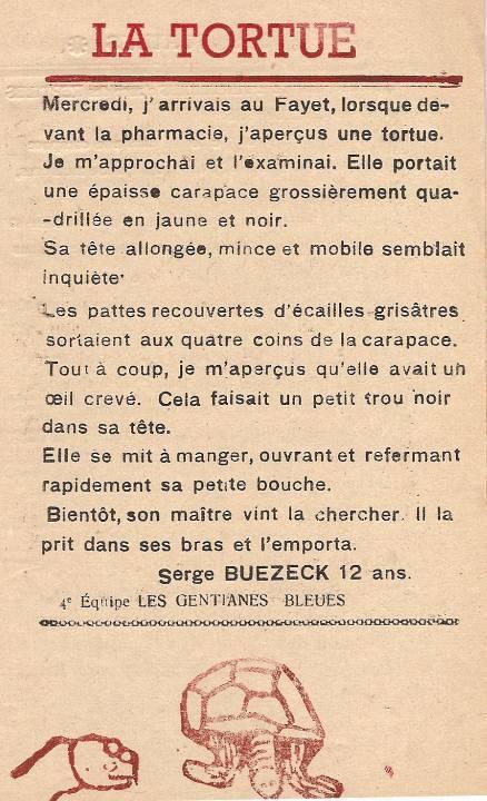 Journal scolaire de Passy, « Face au Mont-Blanc », avril-mai-juin-juillet 1947 p. 3 La tortue, par Serge Buezeck, 12 ans