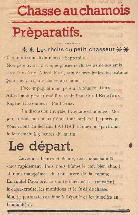 Journal scolaire de Passy « Face au Mont-Blanc », Avril-mai-juin-juillet 1947 p. 7 Les récits du petit chasseur : Chasse au chamois, par Pierre Thierriaz, 13 ans, lino de J.L. Guyot