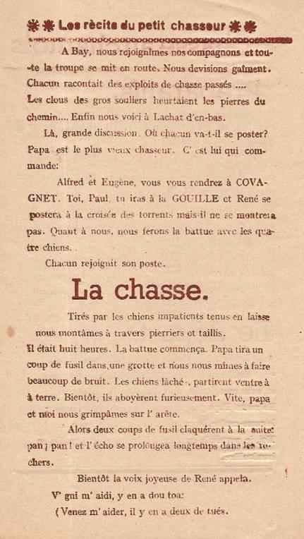 Journal scolaire de Passy « Face au Mont-Blanc », Avril-mai-juin-juillet 1947 p. 8 Les récits du petit chasseur : Chasse au chamois, par Pierre Thierriaz, 13 ans, lino de J.L. Guyot