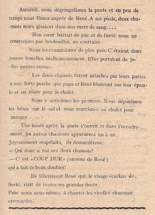 Journal scolaire de Passy « Face au Mont-Blanc », Avril-mai-juin-juillet 1947 p. 9 Les récits du petit chasseur : Chasse au chamois, par Pierre Thierriaz, 13 ans, lino de J.L. Guyot