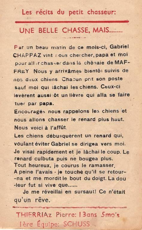 Journal scolaire de Passy « Face au Mont-Blanc », novembre-décembre 1947, p. 1 Les récits du petit chasseur : Une belle chasse, mais…, par Pierre Thierriaz, 13 ans 5 mois