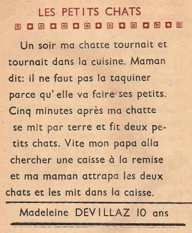 Journal scolaire de Passy « Face au Mont-Blanc », juin-juillet 1948, p. 4 Les petits chats, par Madeleine Devillaz, 10 ans
