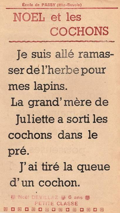 Journal scolaire de Passy « Face au Mont-Blanc », juin-juillet 1948, p. 7 Noël et les cochons, par Noël Devillaz, 6 ans, petite classe