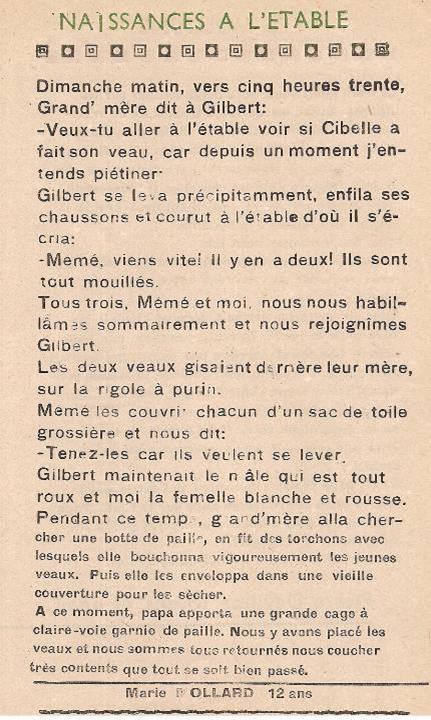 Journal scolaire de Passy « Face au Mont-Blanc », octobre 1948, p. 5 Naissances à l'étable, par Marie Mollard, 12 ans