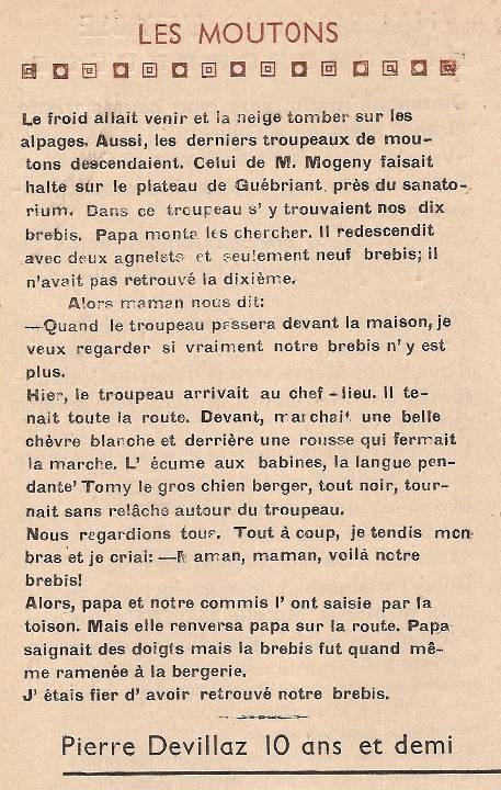 Journal scolaire de Passy « Face au Mont-Blanc », octobre 1948, p. 6 « les moutons », par Pierre Devillaz