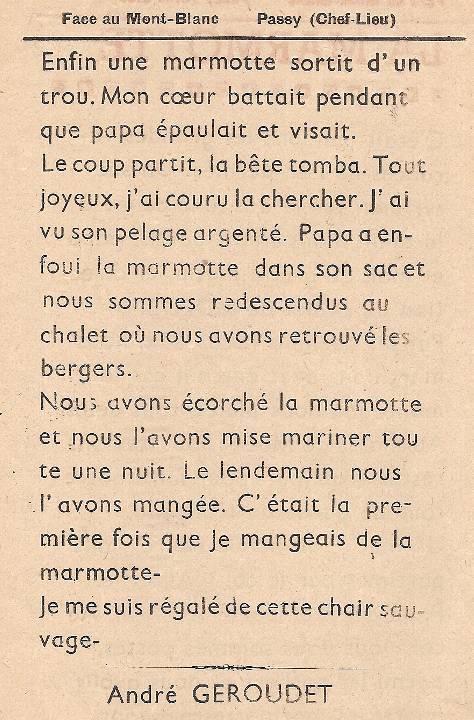 Journal scolaire de Passy « Face au Mont-Blanc », Mars 1949 n° 6, p. 9 La marmotte, par André Géroudet