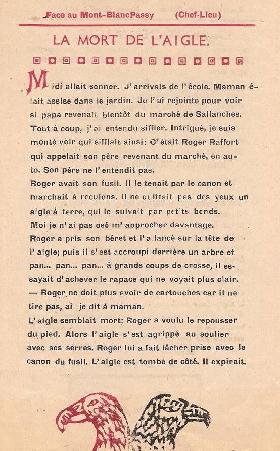 Journal scolaire de Passy « Face au Mont-Blanc », mars 1949,  p. 11 La mort de l'aigle, par Albert Chatellard, 12 ans