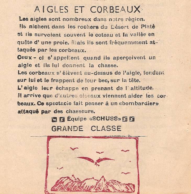 Journal scolaire de Passy « Face au Mont-Blanc », mars 1949 p. 12 Aigles et corbeaux, équipe Schuss, grande classe