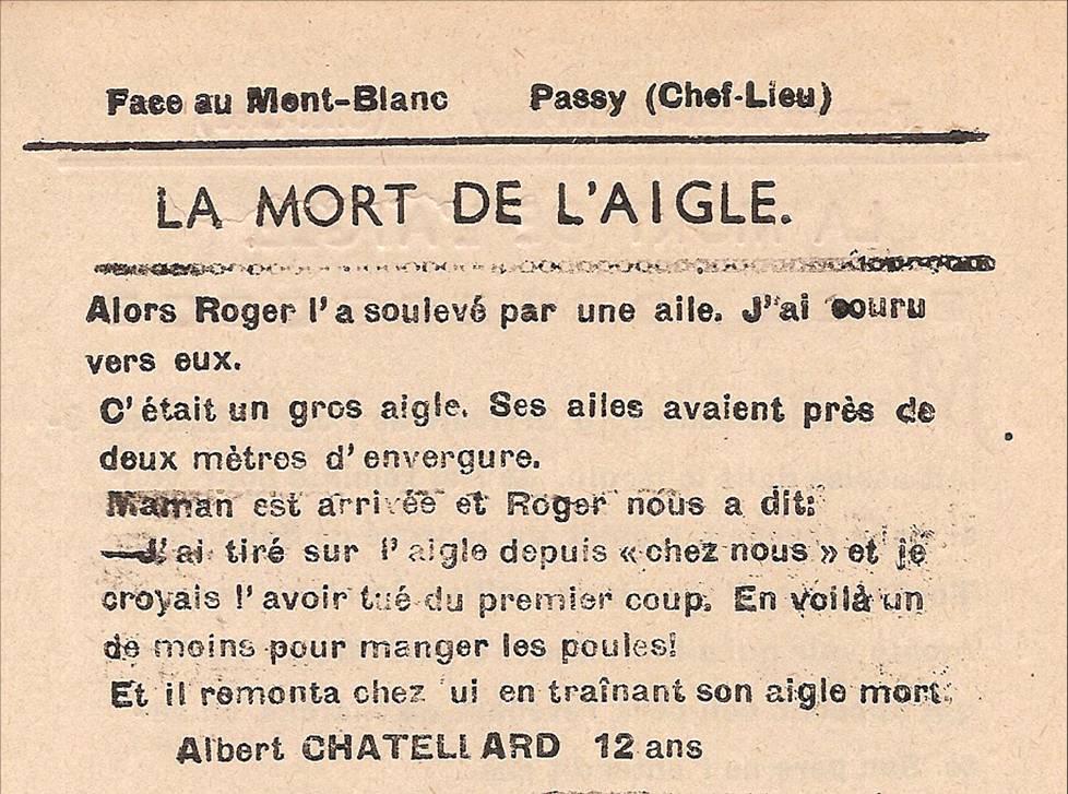 Journal scolaire de Passy « Face au Mont-Blanc », mars 1949,  p. 12 La mort de l'aigle, par Albert Chatellard, 12 ans