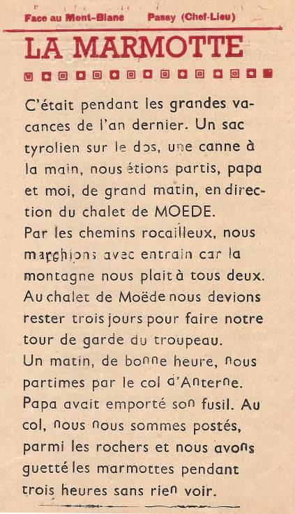 Journal scolaire de Passy « Face au Mont-Blanc », mars 1949 n° 6, p. 8 La marmotte, par André Géroudet