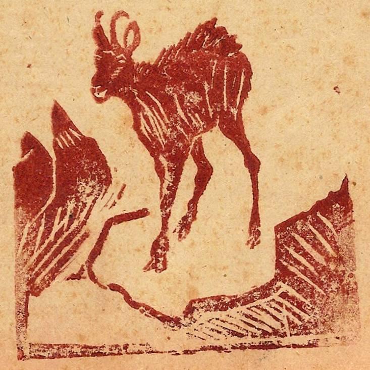 Linogravure illustrant la couverture du journal scolaire de Passy « Face au Mont-Blanc » de 1949-50