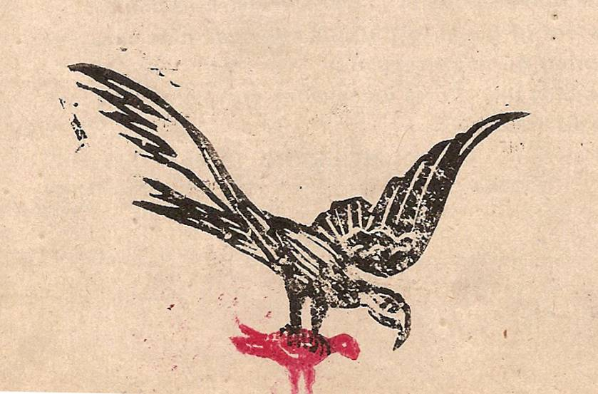 Linogravure du journal scolaire de Passy « Face au Mont-Blanc », février 1950 p. 4 Rencontre inattendue, par Serge Perrillat, 13 ans