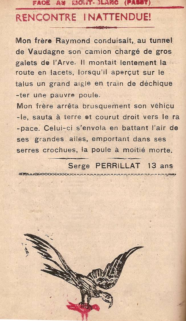 Journal scolaire de Passy « Face au Mont-Blanc », février 1950 p. 4 Rencontre inattendue, par Serge Perrillat, 13 ans